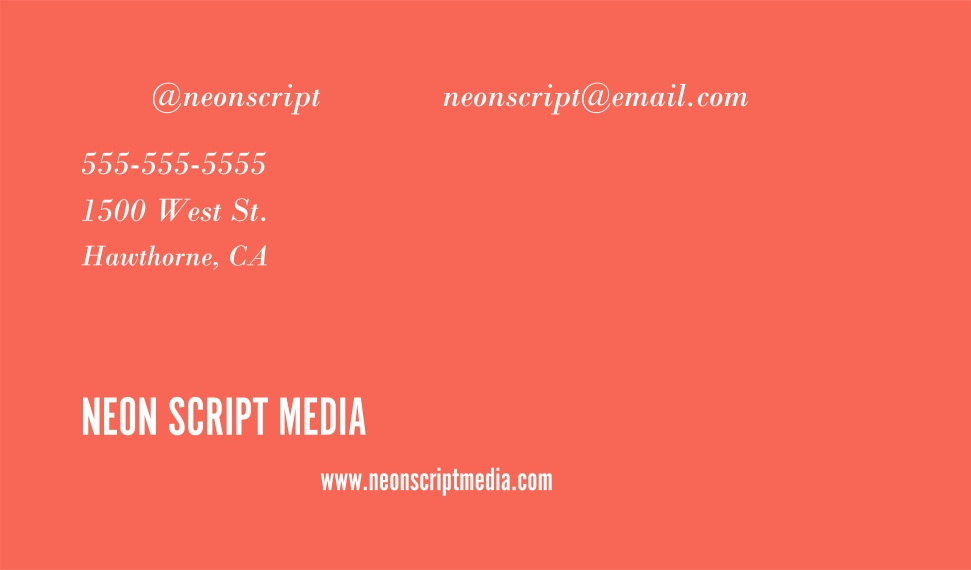 Arts & Media Business Cards, Set of 40, Rounded Corner, Card & Stationery -Neon Script