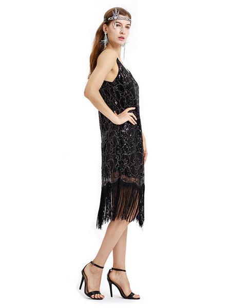 Milanoo 1920s Fashion Style Outfits Flapper Dress Black U Neck Great Gatsby Costume Dress Sequin Fringe Retro 20s Party Dress