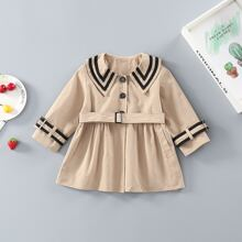 Toddler Girls Striped Button Belted Trench Coat