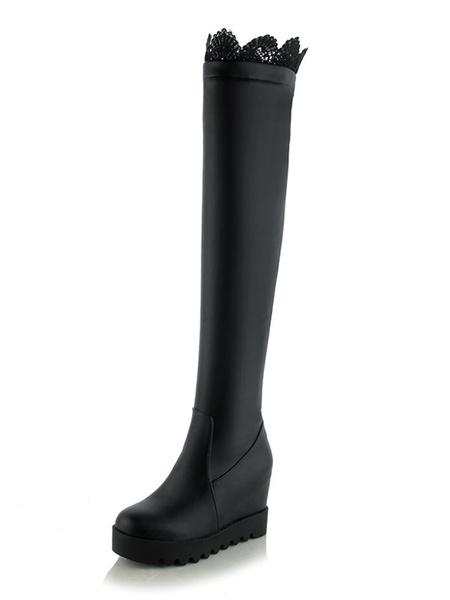 Milanoo Thigh High Boots Womens PU Lace Detail Round Toe Flat Heel Over The Knee Boots