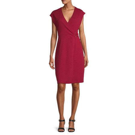 Liz Claiborne Short Sleeve A-Line Dress, X-small , Red