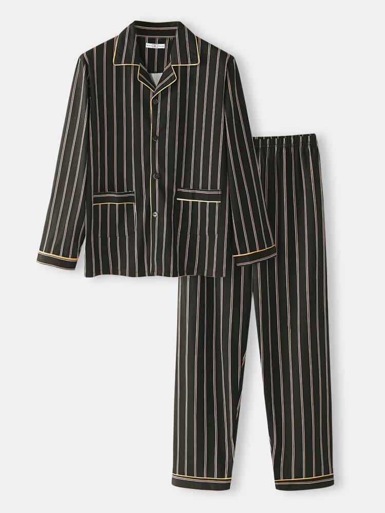 Cotton Comfy Sleepwear Striped Long Sleeve Lapel Collar Pocket Pajamas Sets For Men