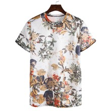Men Leaf Print Short Sleeve Tee