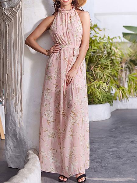 Milanoo Maxi Dress Sleeveless Orange Floral Print High Collar Lace Up Shift Oversized Chiffon Floor Length Dress