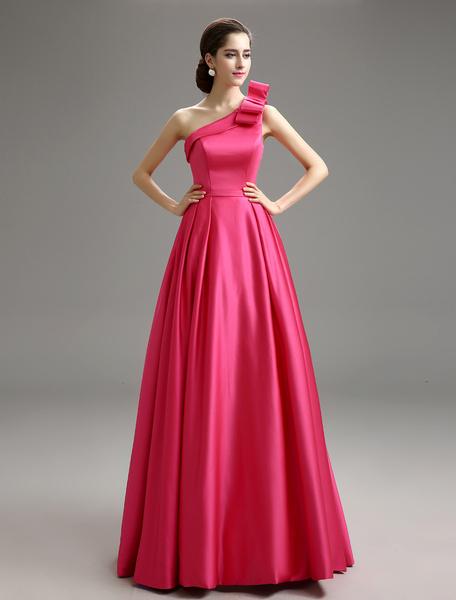 Milanoo One-Shoulder Bow Decor Evening Dress With Sash