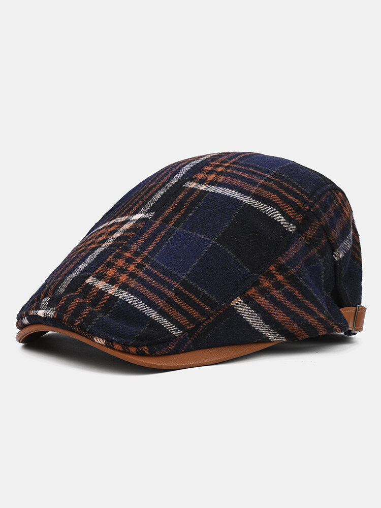 Collrown Men Plaid Pattern Patchwork Beret Hat Retro Casual Outdoor Forward Hat Flat Cap