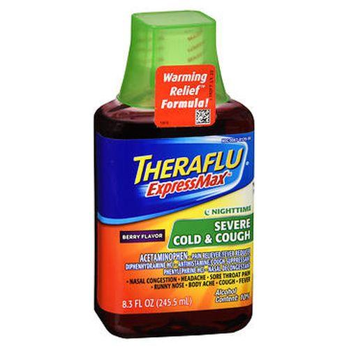 Theraflu ExpressMax Nighttime Severe Cold & Cough Liquid Berry Flavor 8.3 Oz by Theraflu