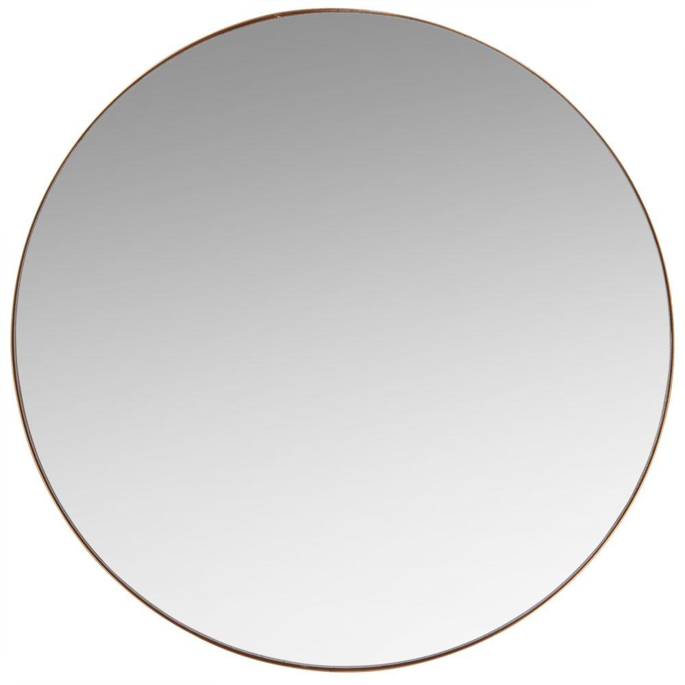 Runder Spiegel mit mattgoldenem Metallrahmen D.48