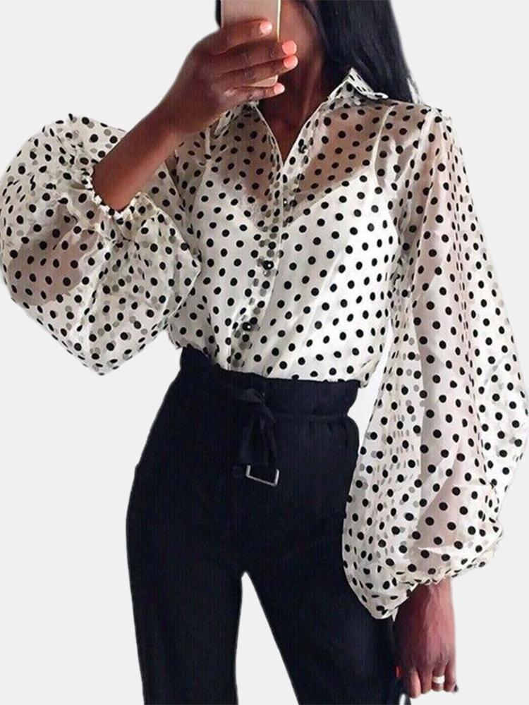 Polka Dot Print Turn-down Collar Transparent Long Lantern Sleeve Button Blouse
