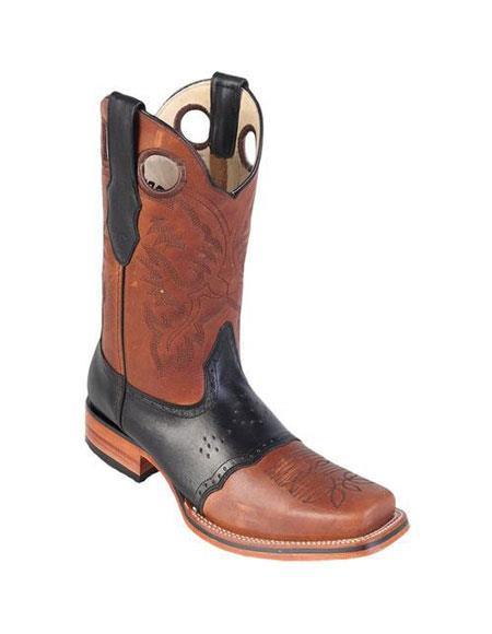 Men's Los Altos Square Toe Honey & Black Boots Saddle Rubber Sole