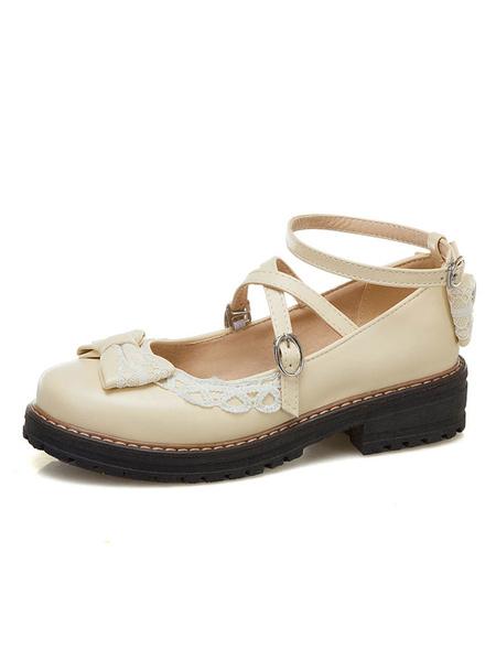 Milanoo Sweet Lolita Footwear Ecru White Bows Bow PU Leather Chunky Heel Lolita Pumps