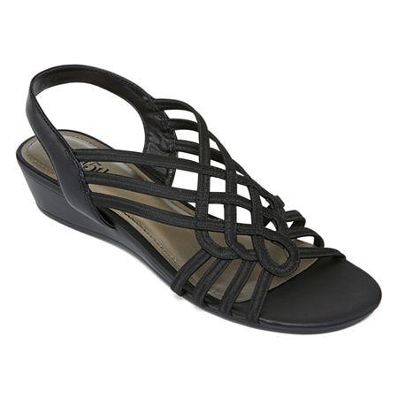 east 5th Womens Reno Wedge Sandals, 6 1/2 Medium, Black