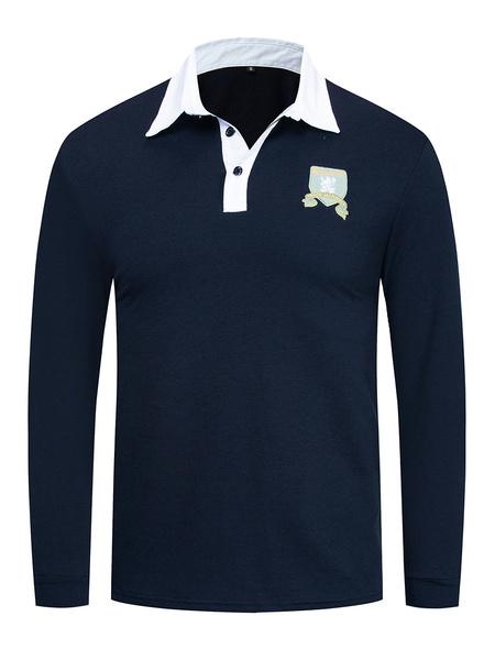 Milanoo Polo de algodon de manga larga para hombre con bordado en el pecho en azul marino oscuro