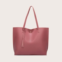 Tassel Decor Large Capacity Tote Bag
