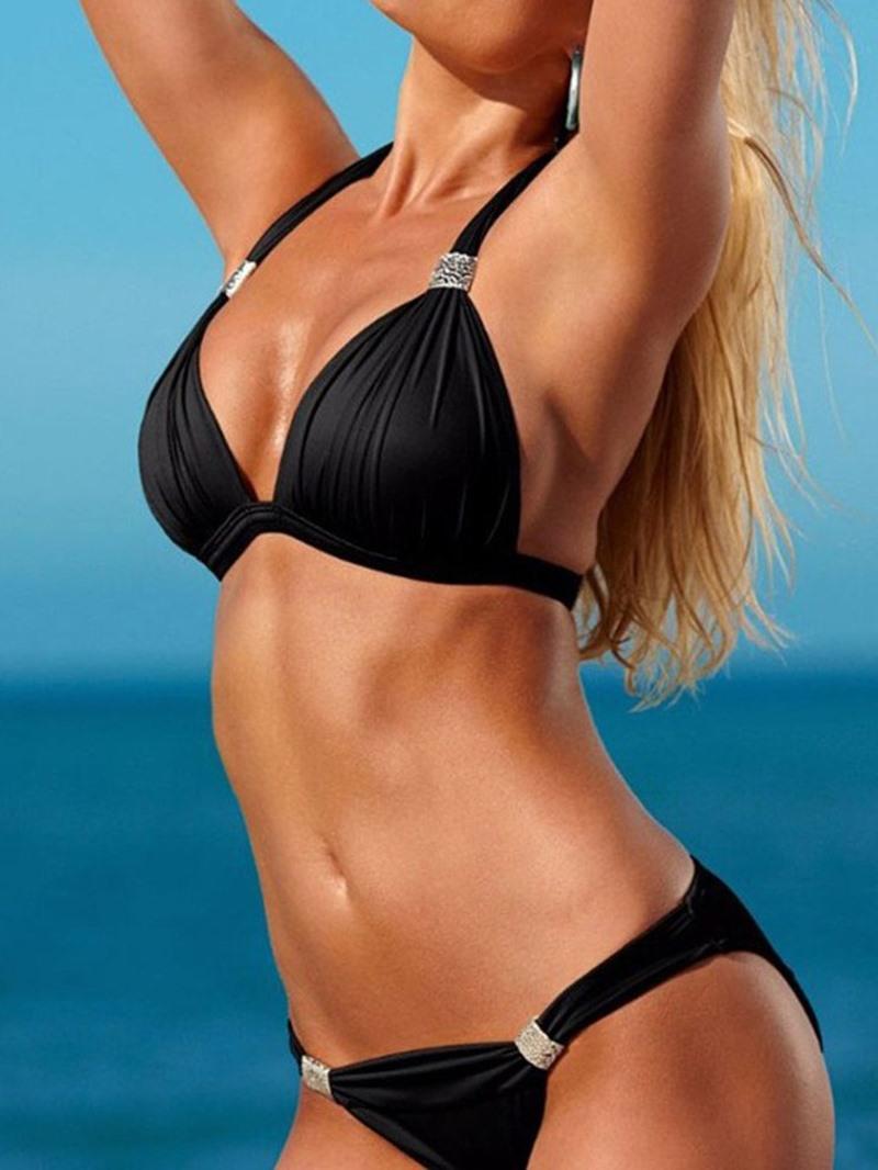 Ericdress Lace-Up Bikini Set Plain Swimwear