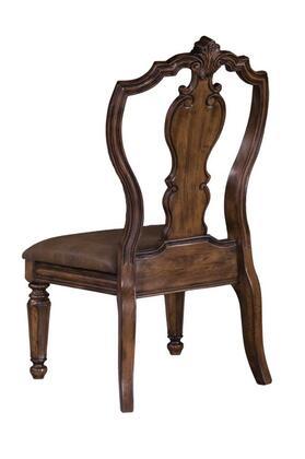 662270 Medium Brown San Mateo Carve Back Side Chair 2 per/ct Pecan Veneer