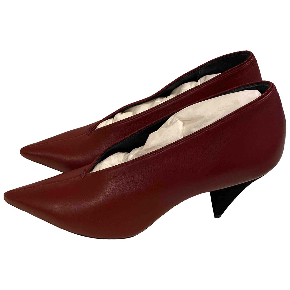 Celine - Escarpins Soft V Neck pour femme en cuir - bordeaux