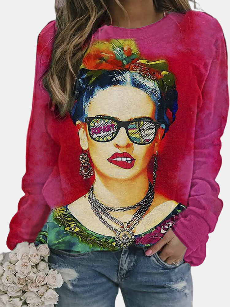Cartoon Figure Print Long Sleeve Vintage T-Shirt For Women