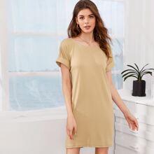 Roll Up Sleeve High Low Tee Dress