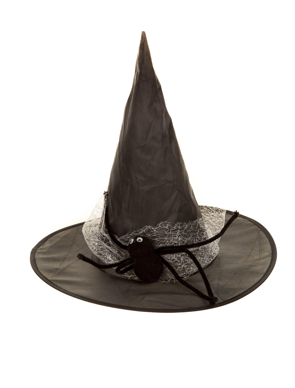 Kostuemzubehor Hexenhut mit Spinne schwarz