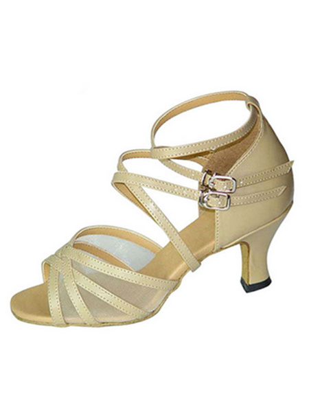 Milanoo Latin Dance Shoes Satin Strappy Criss Cross Buckled Spool Heel Ballroom Shoes