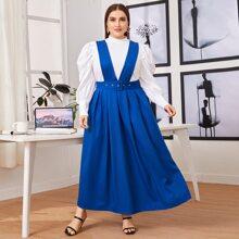 Kleid mit Falten Detail und Guertel