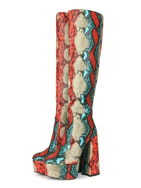 Milanoo Botas hasta la rodilla Botas de tacon grueso con punta redonda roja Piel de serpiente Botas de cuero hasta la rodilla