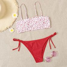 Bikini Badeanzug mit Dalmatiner Muster und seitlichem Band