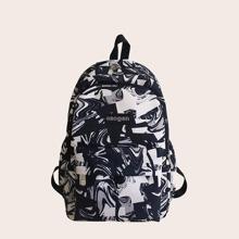 Men Graffiti Print Large Capacity Backpack