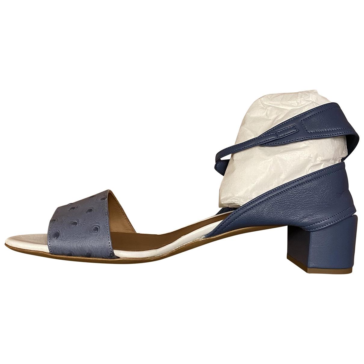 Emporio Armani - Sandales   pour femme en cuir - bleu