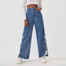 High Waisted Lace Up Side Slant Pocket Jeans