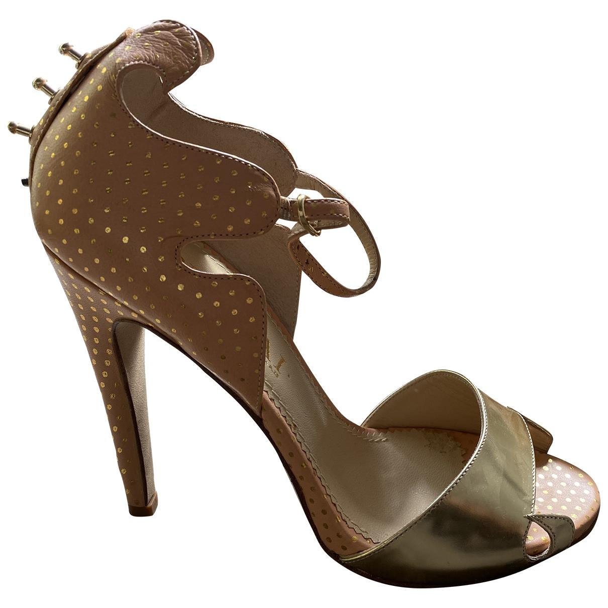Aperlai - Sandales   pour femme en cuir - metallise