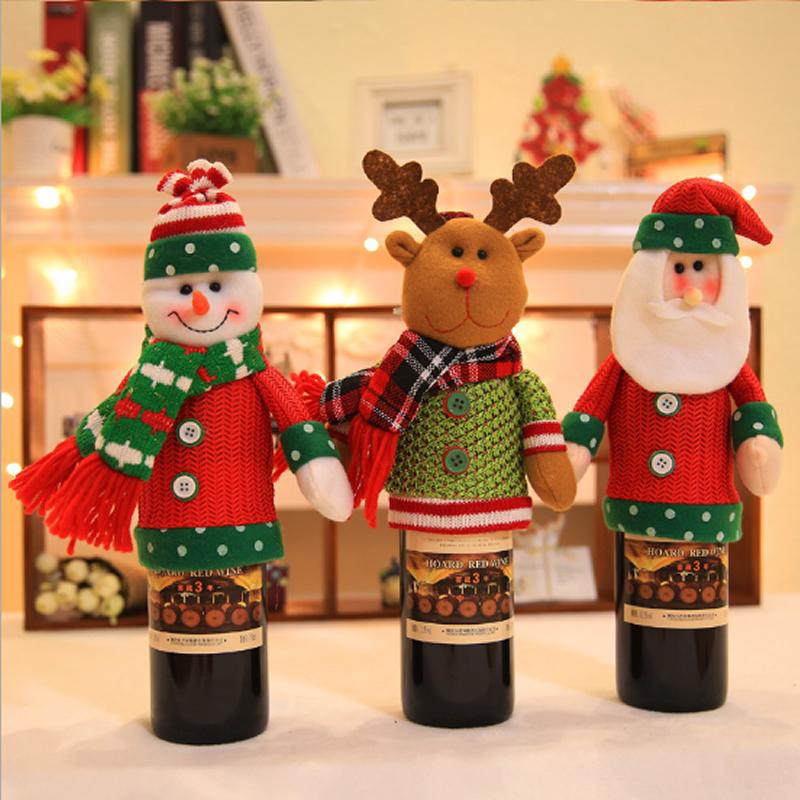 Santa Claus Shape Red Wine Cover Bag Christmas Decoration