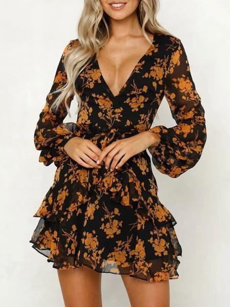 Milanoo Floral Summer Dresses V Neck Long Sleeve Mini Sundress