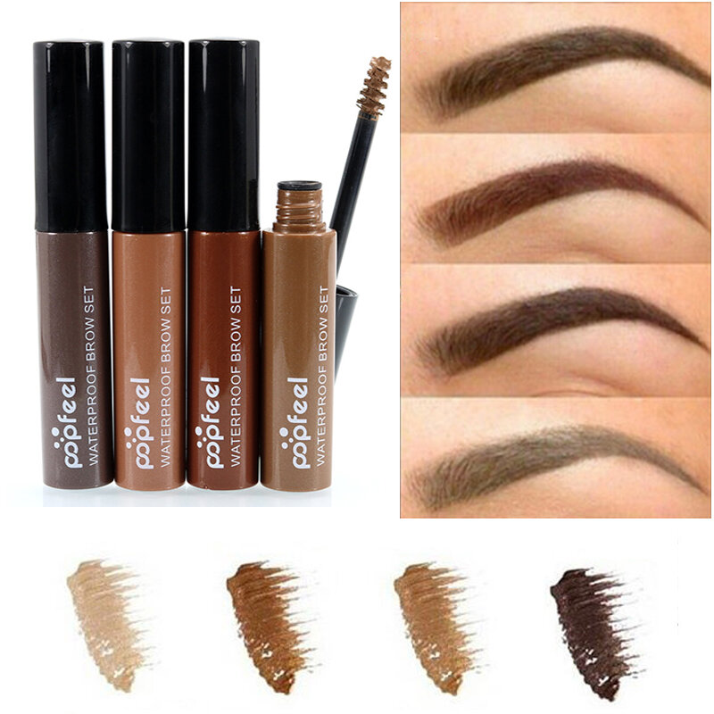 Popfeel Eyebrow Enhancer Gel Waterproof Long Lasting Eye Makeup ColoredBrown Black Coffee 4 Colors