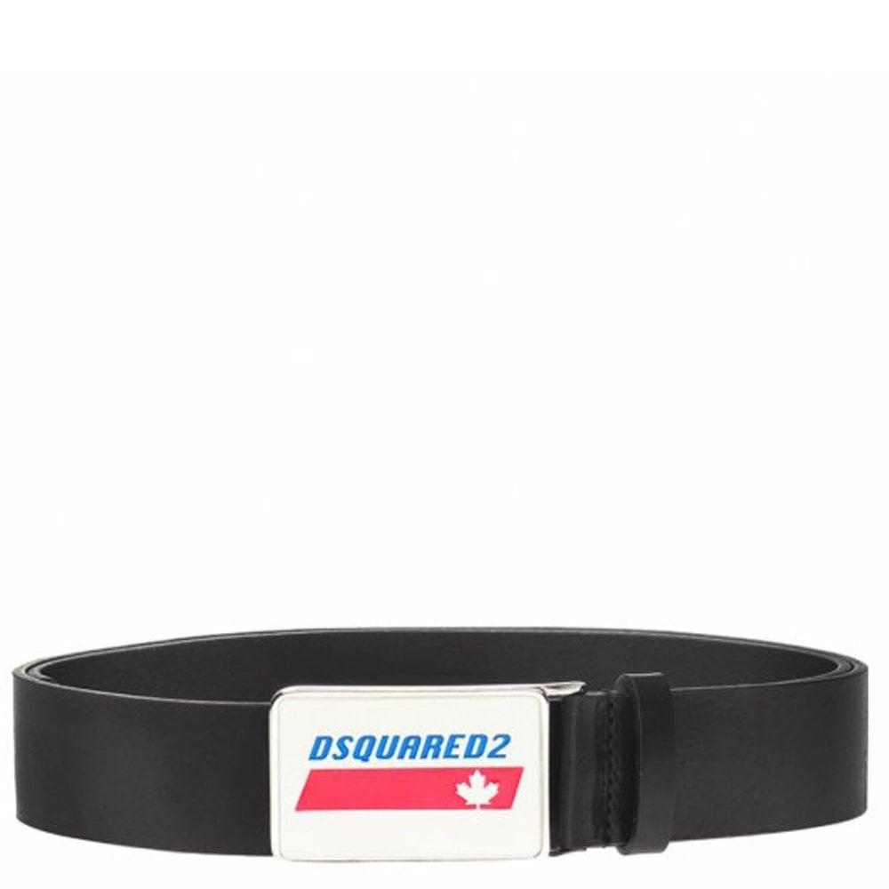 DSquared2 Plaque Leather Belt Colour: BLACK, Size: 32