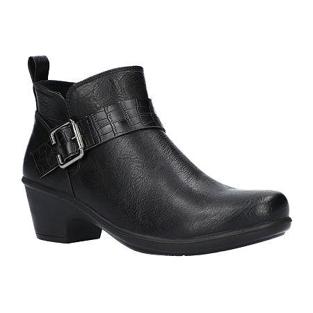 Easy Street Womens Hester Booties Block Heel, 8 1/2 Wide, Black