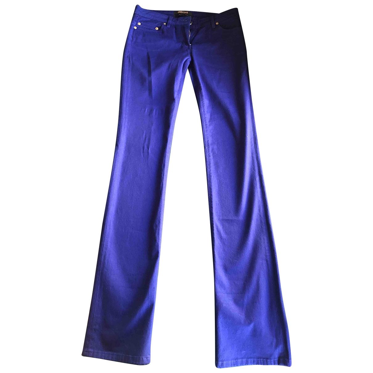 Roberto Cavalli \N Purple Cotton Trousers for Women 38 IT