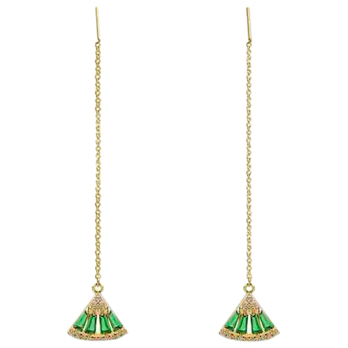 Non Signé / Unsigned Dormeuses Gold Metal Earrings for Women N