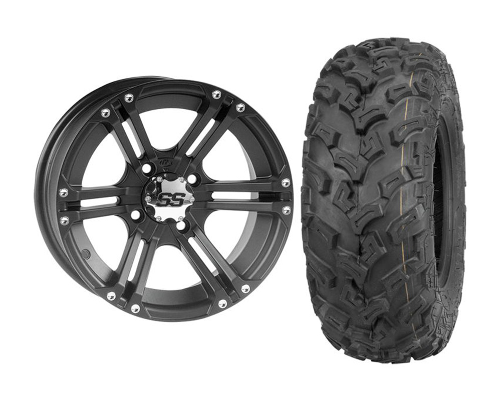 ITP KIT W373206/T608990 RIGHT SS212 12x7 5+2 | 4x110 w/Quad Boss QBT447 26x9-12 Wheel & Tire Package