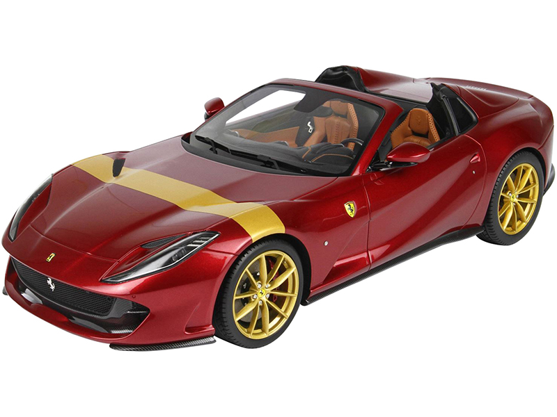 2019 Ferrari 812 GTS Convertible Rosso Fiorano Red with Gold Stripe and Gold Wheels with DISPLAY CASE Limited Edition to 80 pieces Worldwide 1/18 Mod