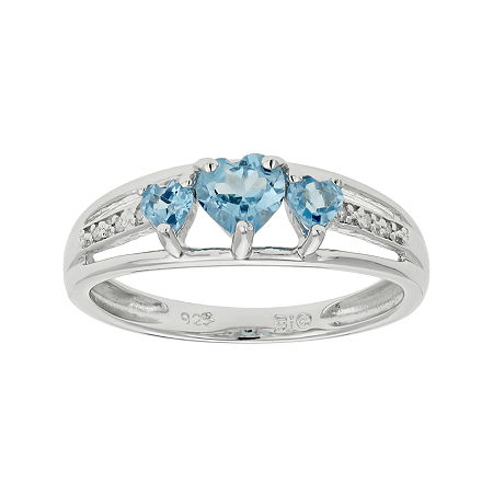 Genuine Blue Topaz & Diamond-Accent Heart-Shaped 3-Stone Sterling Silver Ring, 9 , No Color Family