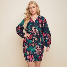 Plus Floral Surplice Front Belted Fitted Dress