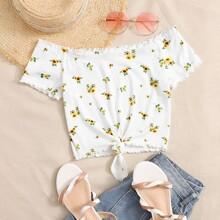 Schulterfreies Top mit gekraeuseltem Saum, Band am Saum und Sonnenblumen Stickereien