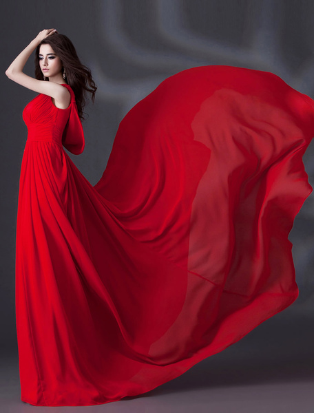 Milanoo Red A-line V-Neck Side Draping Court Train Bridal Wedding Gown