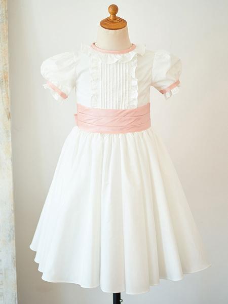 Milanoo Vestidos de niña de las flores Cuello joya Algodon Mangas cortas Hasta la rodilla Princesa Silueta Arcos Vestidos formales para niños