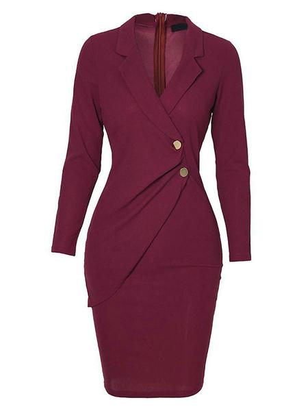 Milanoo Vestidos ajustados Vestido blazer burdeos Vestido a media pierna con botones y mangas largas