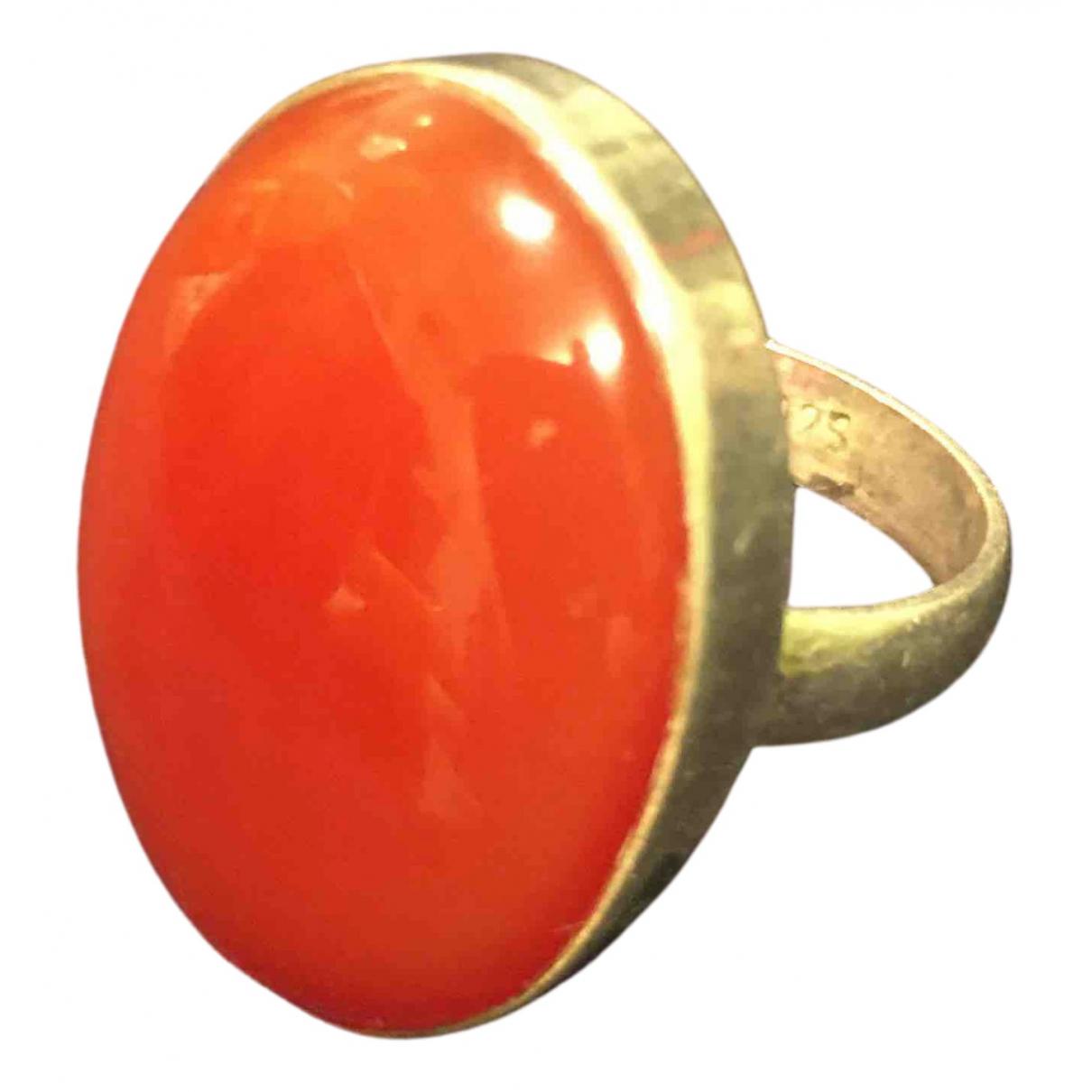 - Bague Motifs Ethniques pour femme en argent - orange