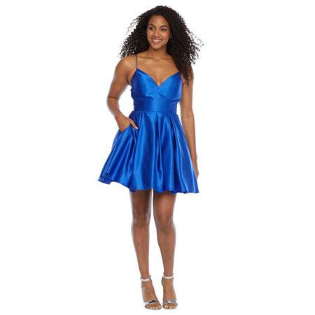 DJ Jaz Sleeveless Party Dress-Juniors, 7 , Blue