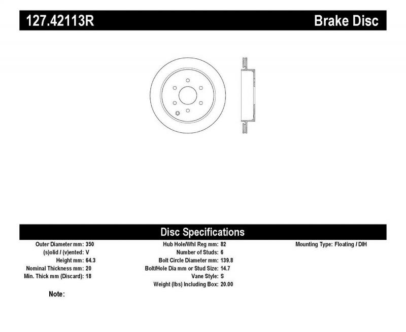 StopTech 127.42113R Sport Drilled/Slotted Brake Rotor; Rear Right Infiniti Rear Right